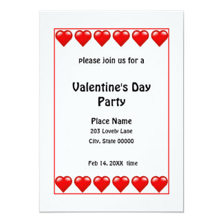 Valentine's Day Red Hearts Party Invitation N