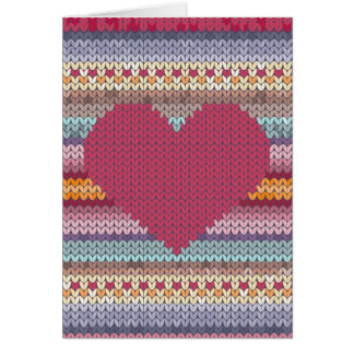 Valentines day red knitted heart card
