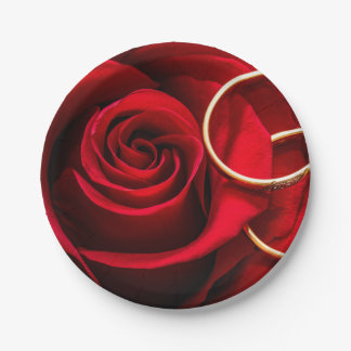 Valentine's Day Red Rose and Wedding Rings Paper Plate