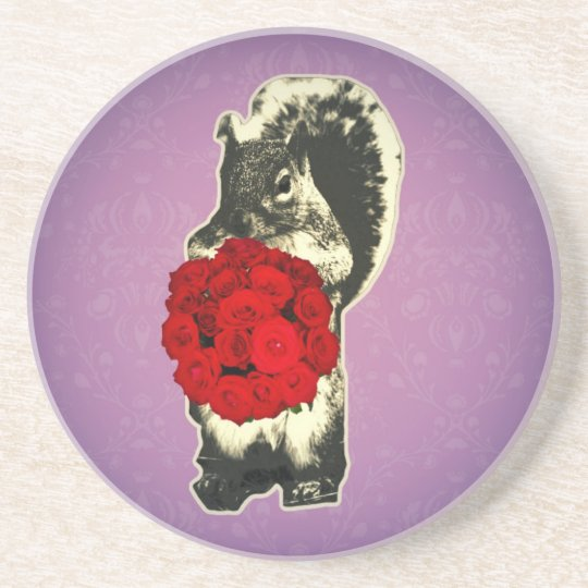 Valentines Day Rose funny squirrel Coaster