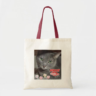 Valentine's Day Russian Blue Gray Cat Budget Tote Bag