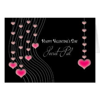 Valentine's Day - Secret Pal -Black/Pink Hearts Card