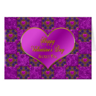 Valentine's Day - SECRET PAL - Hearts/Purple/Pink Greeting Card