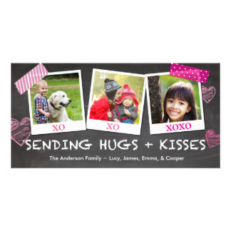 Valentine's Day Sending Hugs and Kisses Personalized Photo Card