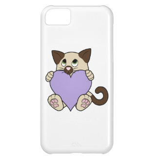 Valentine's Day Siamese Cat - Light Purple Heart Cover For iPhone 5C