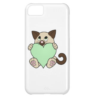 Valentine's Day Siamese Cat with Light Green Heart iPhone 5C Case
