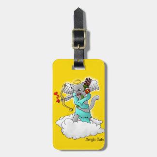 Valentine's Day Smokey Grey Cupid Cat Luggage Tag