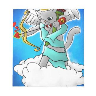 Valentine's Day Smokey Grey Cupid Cat Notepad
