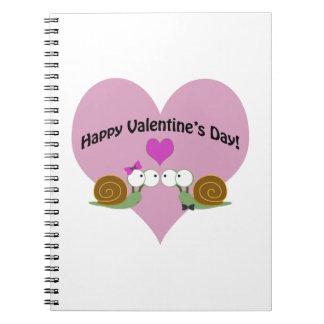 Valentines Day Snails Spiral Note Book