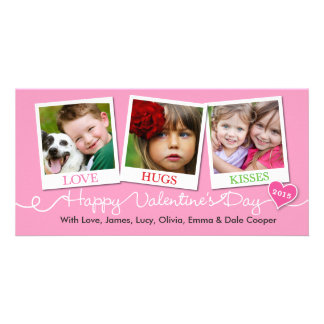 Valentine's Day Snapshots Love, Hugs, Kisses Pink Picture Card