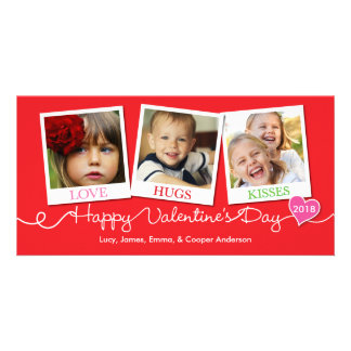 Valentine's Day Snapshots Love, Hugs, Kisses Red Photo Cards