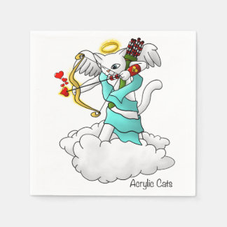 Valentine's Day Snow White Cupid Cat Disposable Napkins