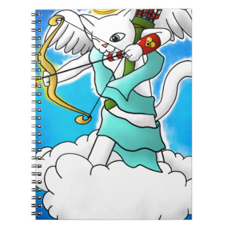 Valentine's Day Snow White Cupid Cat Notebook