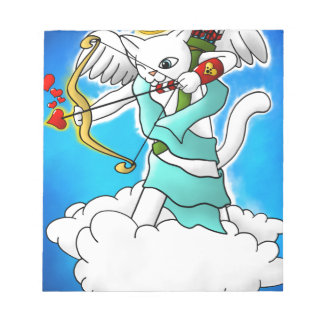 Valentine's Day Snow White Cupid Cat Notepad