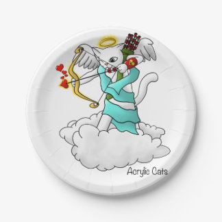 Valentine's Day Snow White Cupid Cat Paper Plate