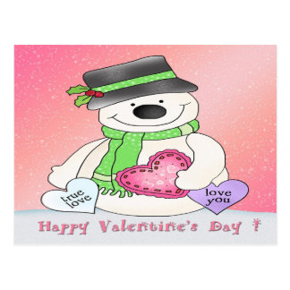 Valentine's Day Snowman Postcard