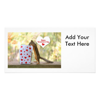 Valentines Day Squirrel Customized Photo Card