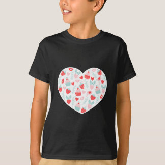 Valentine's Day Strawberry and Cupcakes Hearts T-Shirt