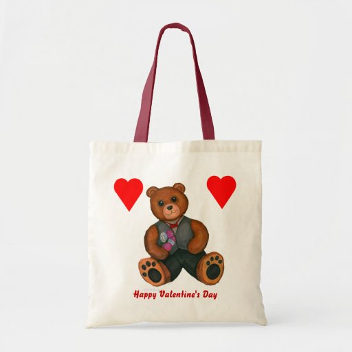 Valentine's Day Teddy Bear with Hearts Tote Bag