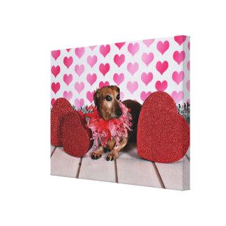 Valentine's Day - Trudy - Dachshund Canvas Print