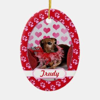 Valentine's Day - Trudy - Dachshund Ceramic Oval Ornament
