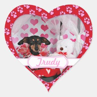 Valentine's Day - Trudy - Dachshund Heart Sticker