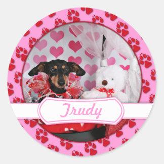 Valentine's Day - Trudy - Dachshund Round Sticker