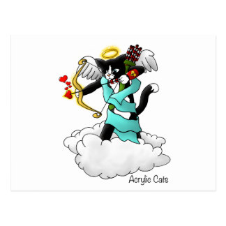 Valentine's Day Tuxedo Cupid Cat Postcard