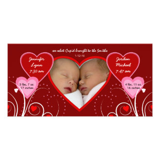 Valentine's Day - Twins Baby Announcement Photo Card