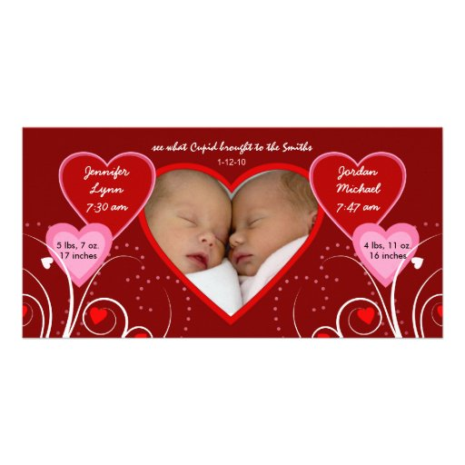 Valentine's Day - Twins Baby Announcement Custom Photo Card