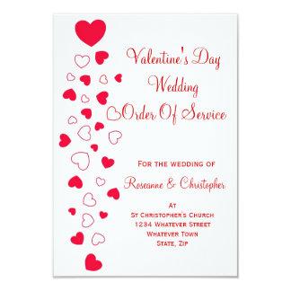 "Valentines Day Wedding Order Of Service 3.5"" X 5"" Invitation Card"