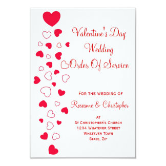 "Valentines Day Wedding Order Of Service 3.5"" X 5"" Invitation Card"