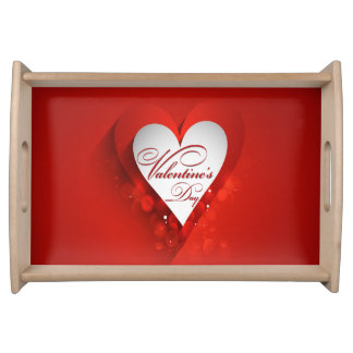 Valentine's Day White Heart Serving Tray