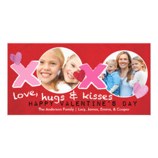 Valentine's Day XOXO Photo Circles Holese Red Photo Card Template