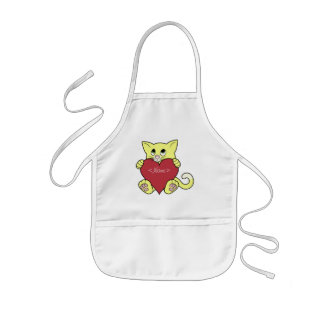Valentine's Day Yellow Cat with Red Heart Kids Apron