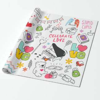 Valentines doodling icons cartoon art themed wrapping paper