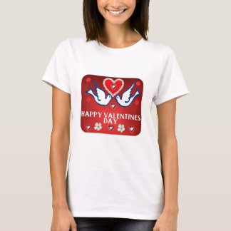 VALENTINES DOVES HEARTS AND FLOWERS T-Shirt