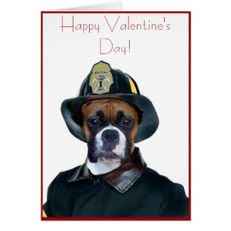 Valentine's Fireman boxer dog greeting card