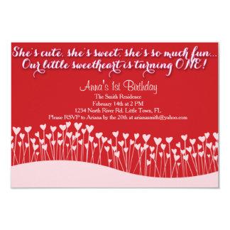 "Valentine's First Birthday 3.5"" X 5"" Invitation Card"