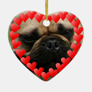 Valentine's French Bulldog heart ornamnet Ceramic Ornament