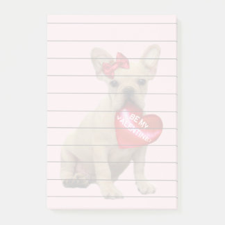 Valentines French Bulldog Post it notes 4x6 pad