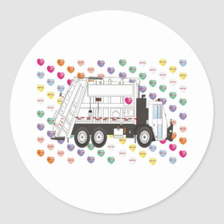 Valentines Garbage Truck February Classic Round Sticker