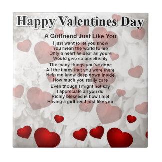 Valentines girlfriend Red Hearts Design Tile