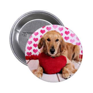 Valentines - Golden Retriever - JJ Pinback Button