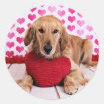 Valentines - Golden Retriever - JJ Classic Round Sticker