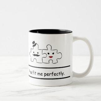 Valentines He & She mug: You fit me perfectly Two-Tone Coffee Mug