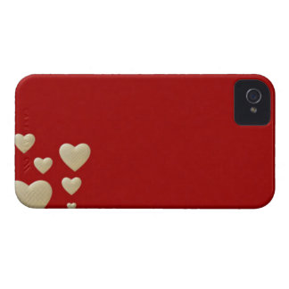 Valentines hearts red white and creme Case-Mate iPhone 4 case