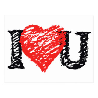"""Valentine's """"I Love You"""" Scribble Postcard"""