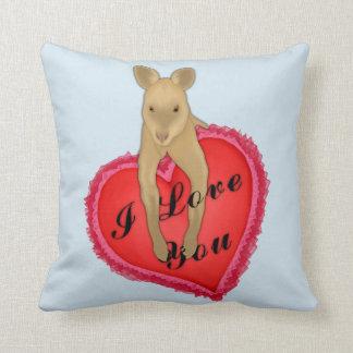 Valentines Kangaroo Throw Pillow