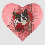 Valentines - Key to My Heart - Boston Terrier Heart Stickers